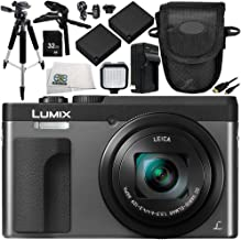 Panasonic Lumix DC-ZS70 Digital Camera (Silver) 11PC Accessory Bundle – Includes 32GB SD Memory Card + 2X Replacement Batteries + More - International Version (No Warranty)