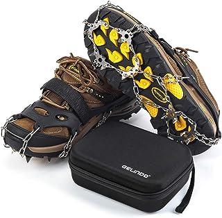 Gelindo Ice Traction Stainless Stickes 19 Spikes Crompons for چکمه Anti Slip Ice Grip Traction حفاظت ایمن برای پیاده روی ، پیاده روی ، کوهنوردی ، آهسته دویدن ، کوهنوردی در جاده گل آلود برف