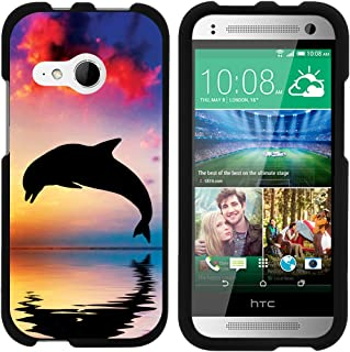 Compatible with HTC One M8 Mini Case | One Mini 2 | One Remix [Slim Duo] Hard Shell Snap On Case Compact Fit Matte on Black Sea Ocean by TurtleArmor - Dolphin Jump