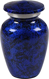 Keepsake Cremation Urn - Mini Funeral Memorial with in Blue Design for Sharing of Token Amount of Ashes, Miniature Burial,...