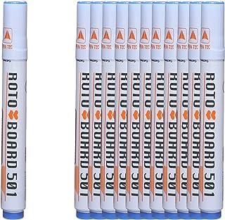 قلم ماركر للسبورة بسن مشطوف بورد 501 من روتو، 12 قلم - ازرق