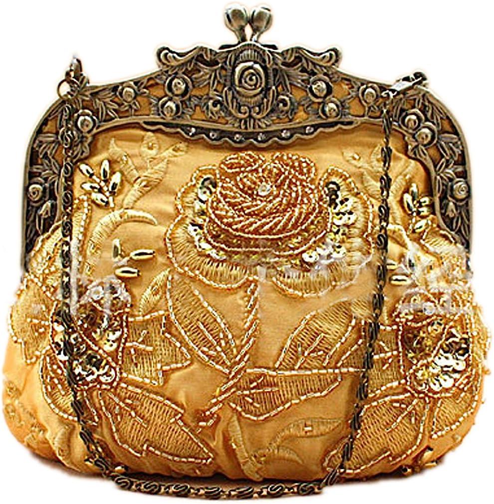 1920s Style Purses, Flapper Bags, Handbags Belsen Womens Vintage Beaded Sequin Flower Evening Handbags  AT vintagedancer.com