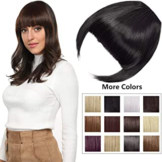 Clip in Bangs Fringe Hair Extensions with Temples Synthetic Fashion Hair-pieces Dark Black
