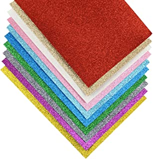 Glitter Fabric Acrylic Felt Sheets for Appliques DIY Hair Bows Earrings Bag Crafts 10 Colors