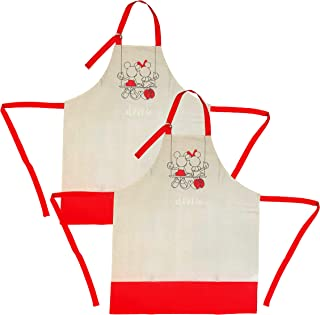 Disney Cotton Apron, 2pk - Durable yet Lightweight Kitchen Apron to Wear While Baking, Cooking, Grilling & More - Cute Coo...