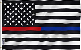 Anley Fly Breeze 3x5 Foot Thin Blue Line and Red Line USA Polyester Flag - Vivid Color and UV Fade Resistant - Honoring Law Enforcement Officers and Firefighter Polyester Flags 3 X 5 Ft
