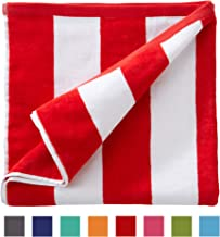 Great Bay Home Oversized Plush Velour 100% Cotton Beach Towel. Cabana Stripe Pool Towel for Adults. (Red, 40
