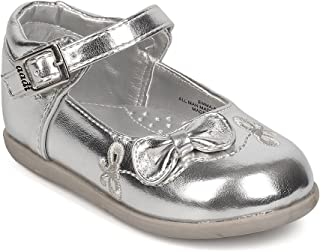 Aadi Metallic Leatherette Bow Tie Mary Jane Flat (Infant Girls/Toddler Girls) FJ95 - Silver