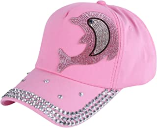 2018 Wholesale Girl boy Fashion Cap Brand Hats Pink Rhinestone Dolphin Character Design Children Baseball caps