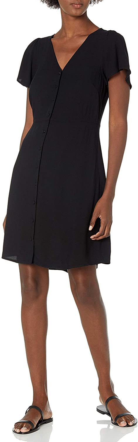 Amazon Brand - Goodthreads Women's Fluid Twill Button-Front Fit-and-Flare Dress