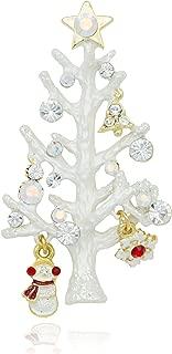 Akianna Swarovski Element Crystals White Twig Christmas Tree Pin Brooch