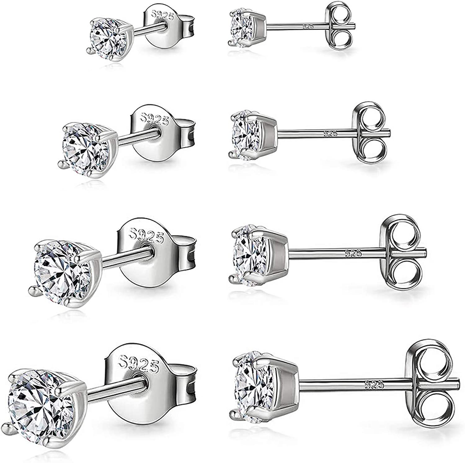 925 Choice Sterling Silver Stud Max 77% OFF earrings White Gold Hypoal Plated Set
