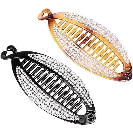 Clip di capelli della banana, clip della clip a coda di pesce della perla Clip di capelli dell'artiglio dei capelli della perla per le ragazze delle donne (2Pcs)
