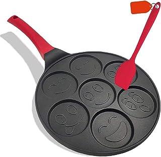 Pan for Pancakes, Emoji Smiley Face Pancake Pan Nonstick Grill Pan Mini Blini Pancakes Emoji Mold with Non-slip Handle, 10...