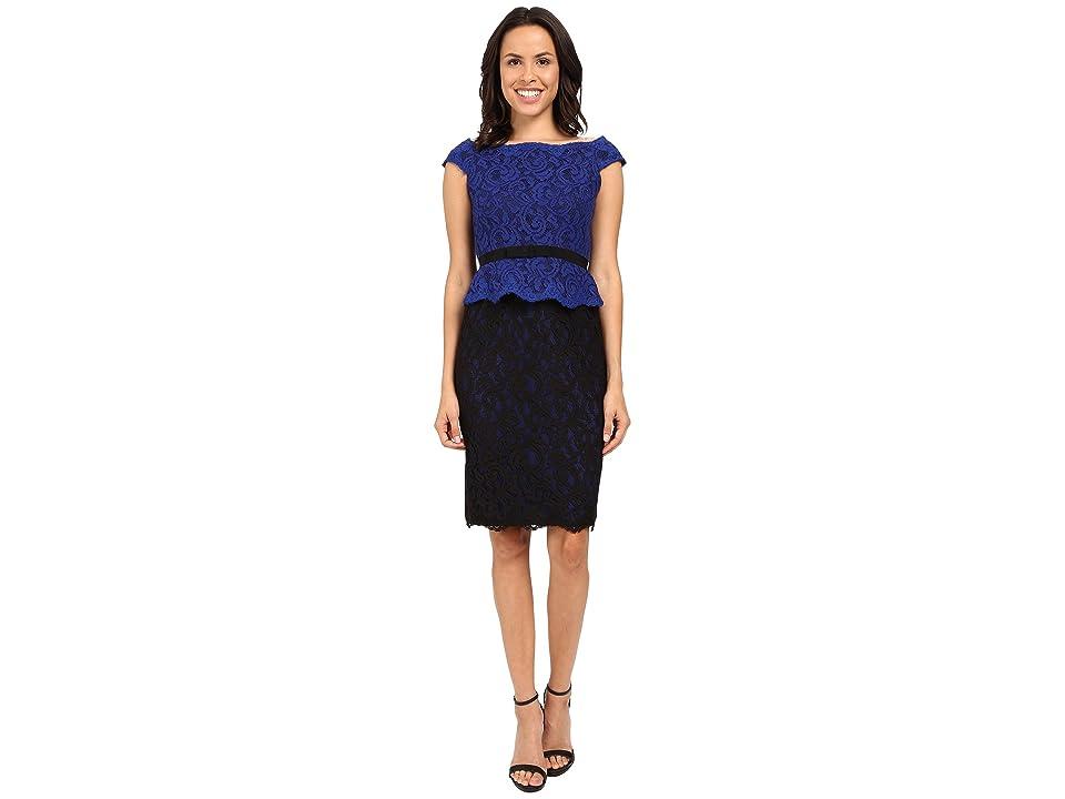 Adrianna Papell Bi-Color Lace Wrap Peplum Dress (Cobalt/Black) Women