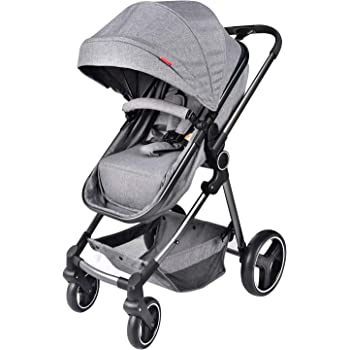 Grepatio Portable Baby Stroller - Lightweight Newborn Baby Pushchair, Convertible Bassinet Reclining Stroller with Shock Absorbers, Quick EZ One Hand Fold in Seconds - Gray
