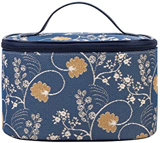 Signare Tapestry Cosmetic Make Up Toiletry Travel Vanity Bag Case in Jane Austen Design (Jane Austen Blue) (TOIL-AUST)