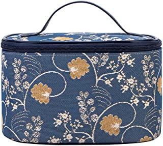 Signare Tapestry Cosmetic Make Up Toiletry Travel Vanity Bag Case in Jane Austen Design (Jane Austen Blue) (TOIL-AUST)