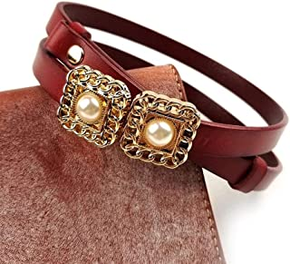 Fashion adjustable leather thin waistband dress small belt head layer cowhide buckle pearl waist chain (Color : Red, Size : 90cm)