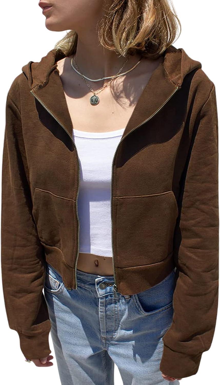 Dcohmch Women Casual Long Sleeve Zip Up Crop Hoodies Drawstring Solid Color Cropped Jacket Zipper Y2K Hooded Sweatshirt