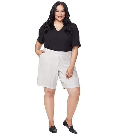 NYDJ Plus Size Plus Size Bermuda Linen Shorts in Slubby Stripe (Slubby Stripe) Women