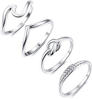 Adramata 4 Pcs Stainless Steel Engagement Wave Ring for Women Cute Thumb Band Rings Set