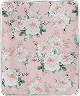 Sherpa Cuddle Blanket Peach and Pink Flowers on Navy Portadown Watercolor Floral
