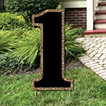 Big Dot of Happiness Yard Number 1 - Black and Gold - 15.5