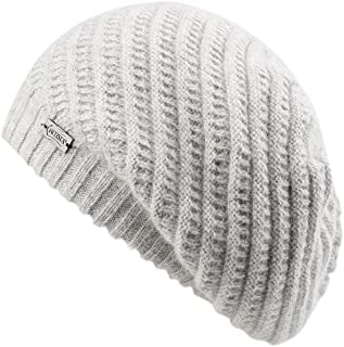 FURTALK French Beret Knit Hat Angora Wool Winter Beanie Cap Real Fur Pom Pom Hats Original