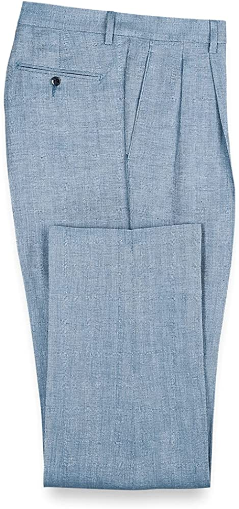 Paul Fredrick Men's Linen Herringbone Pleated Pants