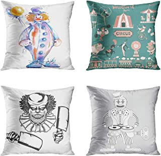 Moladika Set of 4 Throw Pillow Covers 18x18 Inch Square Circus Clown Watercolor Sketch Vintage Show Isolated Scary Outline Stroke Drummer Wind Tin Cushion Home Decor Sofa Bedroom Pillowcase
