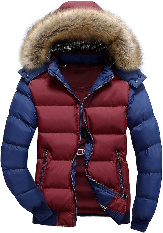 Men's Winter Warm Faux Leather Spliced Padded Long Down Alternative Parka Coat Fur Hood (red,XX-Large)