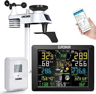 CURCONSA WIFI Digital väderstation Wilan med 6 i 1 utomhussensor, regnmätare, väderförutsägelse, WIFI väderbas vädermoln u...