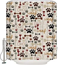 Dog Paws Shower Curtains with Bones Pattern Print Waterproof Polyester Fabric Bathroom Curtain Decor Include 12 Hooks, 72x72 Inches