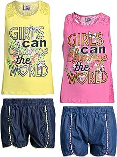 Real Love Conjunto de 4 Piezas de Pantalones Cortos para niñas con Pantalones de Mezclilla Chambray y Bonita Playera Estampada