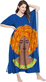 RADANYA Women African Print Loose Long Maxi Dress Cotton Caftan