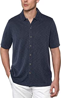 Men's Comfort Camp Shirt - Full Button-Front Closure Short Sleeve