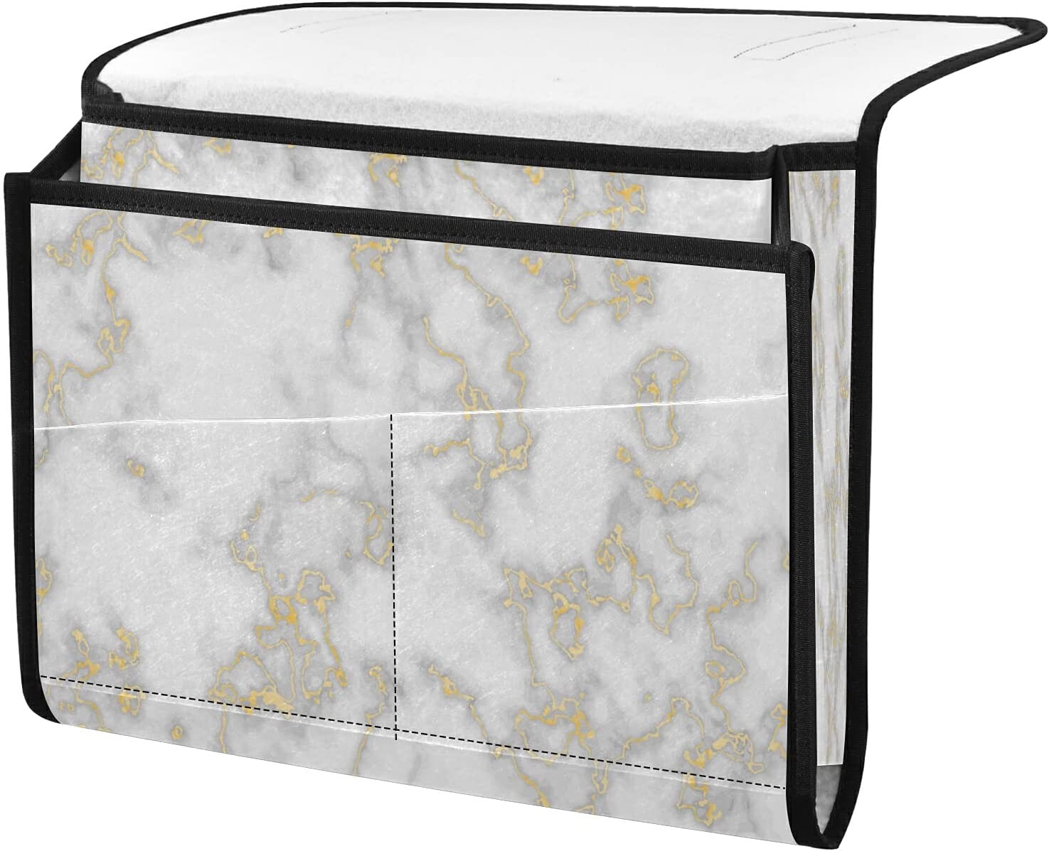 List price New products world's highest quality popular Bedside Storage Organizer Gold Marble Texure Caddy Beside Tabl