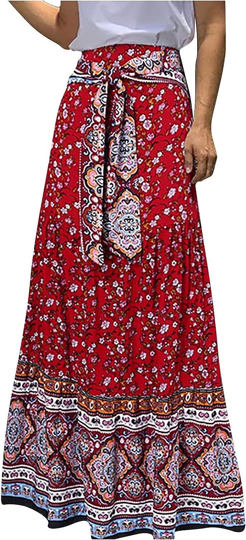 Flower Printing Long Skirt Women Fashion Casual High Waist Uniform Pleated Skirt