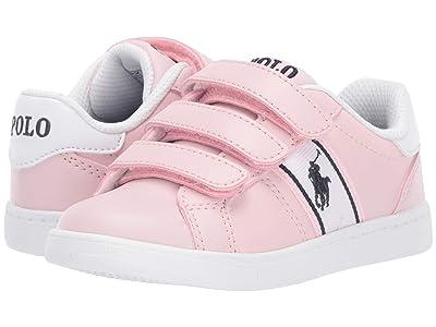 Polo Ralph Lauren Kids Quigley EZ (Toddler) (Light Pink Smooth/White/Navy/Navy Pony) Girl
