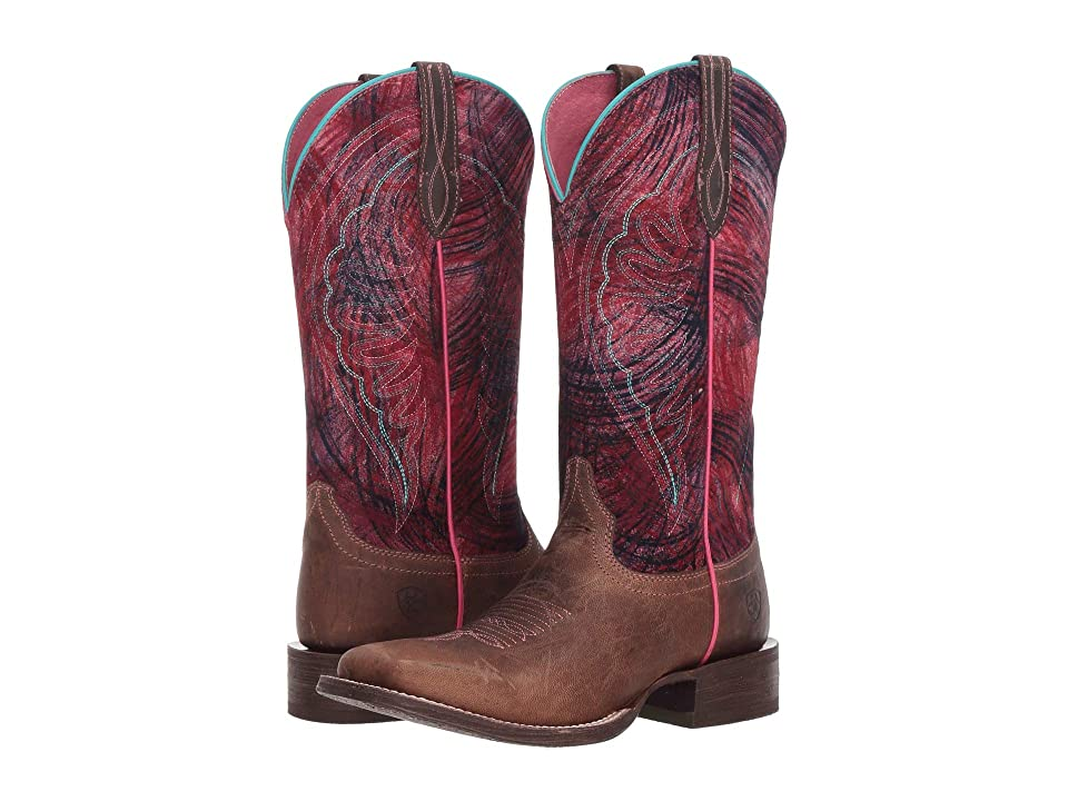 Ariat Circuit Shiloh (Weathered Tan/Paint Brush Pink) Cowboy Boots