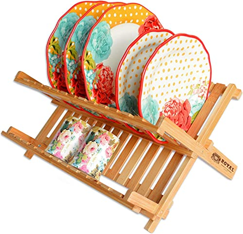 new arrival Bamboo 2 Tier Dish online sale Drying Rack - Collapsible Dish Drainer Utensil Rack and Best Dish Holder wholesale for Kitchen Countertop by Royal Craft Wood online