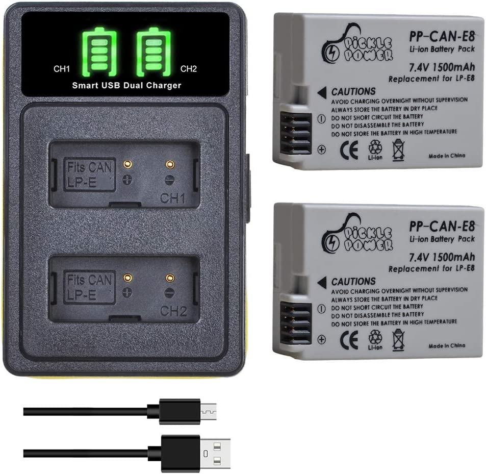 Pickle Power LP-E8 LPE8 Battery and Charge Dual Sales results No. 1 Max 55% OFF Built-in USB LED