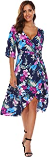 Beyove Women's Floral Deep V-Neck Trumpet Sleeve Flowy Party Beach Cover up Maxi Dress