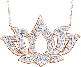 Round Cut White Natural Diamond Open Lotus Flower Necklace in 10K Solid Gold (1/5 Cttw)