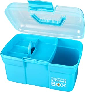Storage Box, Idemeet Portable 11 Inch Tool Box with Compartment, Handy Storage Box Clear Plastic Storage Case for Small Or...
