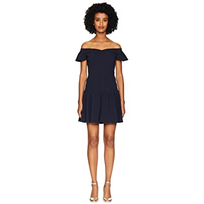 Rebecca Taylor Sleeveless Stretch Texture Dress (Navy) Women