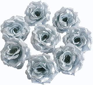 Eternal Blossom Silk Rose Flower Head, 20PCS for Hat Clothes Album Decoration, Wedding Decoration (Silver)