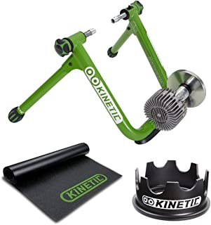 Kinetic T2200 Road Machine 2.0 Fluid Trainer + Trainer Floor Mat and Fixed Riser Ring