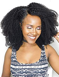 Luwigs Afro Kinky Curly 4B 4C Clip in Hair Extensions 14 Inch 7Pcs/Set Brazilian Virgin Human Hair Natural Color Clip Ins for African American Black Women